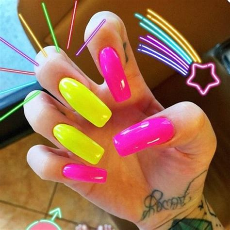 melissa marie green hot pink yellow nails steal  style
