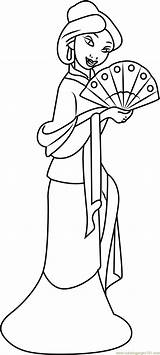 Mulan Coloring Pages Fan Japanese Hand Princess Printable Pdf Getcolorings Adults Coloringpages101 Hua Cartoon Mushu Emperor sketch template