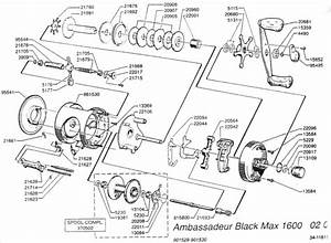 Ambassadeur Black Max 1600  Despiece  Catalog Parts Reel