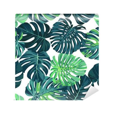 vector seamless pattern  green monstera palm leaves