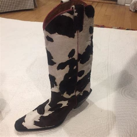 Black And White Cowhide Boots by Donald J Pliner Black And White With Maroon Trim Cowhide