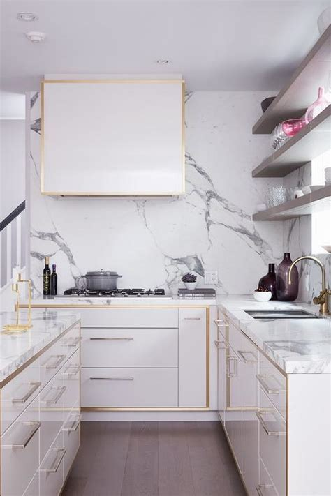 White Kitchen Cabinets with Gold Trim   Contemporary   Kitchen