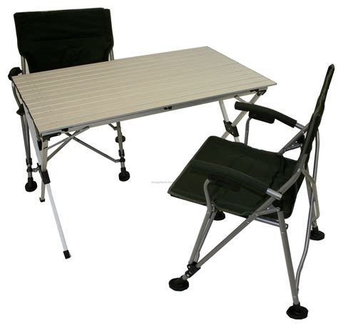 large picnic aluminum picnic table with 2 chairs in a bag