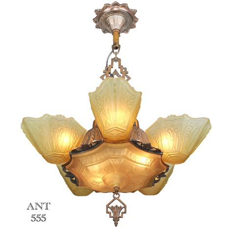 antique art deco ls art deco antique 1930s chandelier with slip shades by