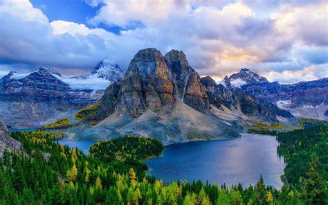Canada Alberta Mountains Lakes Forest Autumn