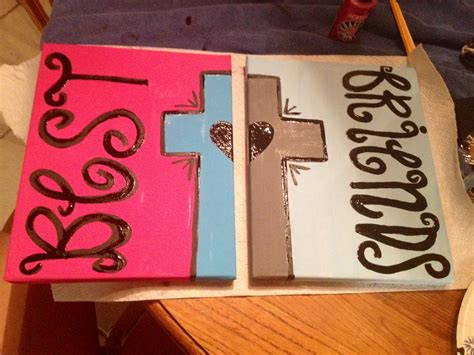 friend canvas canvas by best friend painting with cross and on 2 canvases Best