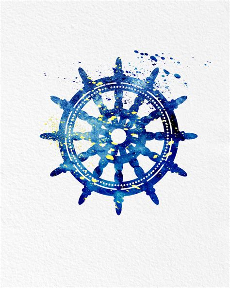 Sailboat Wheel Wall Decor by Watercolor Ships Wheel Gift Modern 8x10 Wall Decor