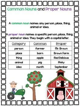 creative  common nouns  proper nouns tpt