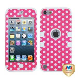 Dots(Pink/white)/White TUFF Design Case +Silicone +Screen For iPod Touch 5th