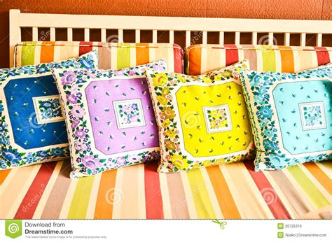 Colorful Sofa Pillows by Colorful Pillows On Sofa Stock Image Image Of