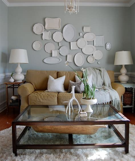 pottery barn chair slipcover pottery decorative wall plates transitional living room