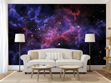 Galaxy Wallpaper For Ceiling by Blue Purple Galaxy Wall Mural Self Adhesive Peel And