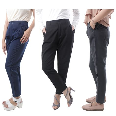 celana panjang bahan 5 warna cotton polyester adore elevenia