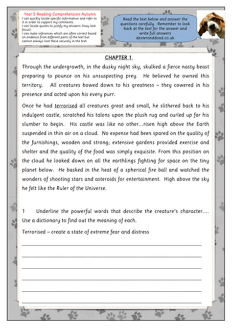 year 7 comprehension worksheet by uk teaching resources