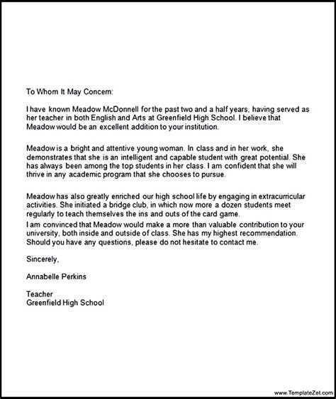 letter of recommendation for student sle letter of recommendation for college student choice 13013