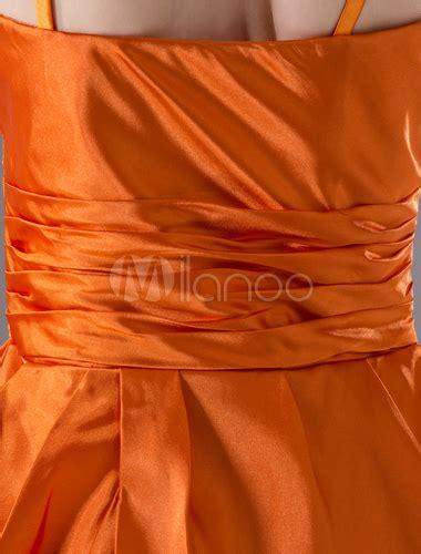orange sheath sweetheart elastic woven satin homecoming