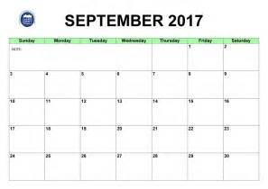 September 2017 Calendar with Holidays Printable