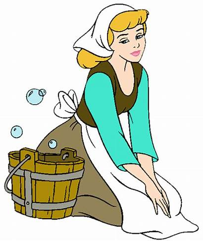 Cinderella Cleaning Clipart Rags Disney Princess Sweeping