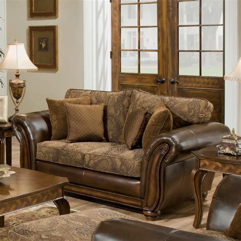 Accent Loveseat by Simmons Zephyr Vintage Leather And Chenille Loveseat With