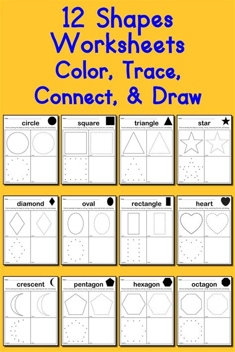 shapes worksheets color trace connect draw supplyme