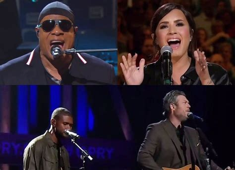 blake shelton usher stand by me watch stevie wonder usher blake shelton demi lovato and