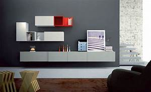 Minimalistic wall shelving units for living room