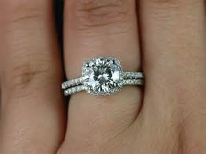 moissanite engagement ring set rosados box barra 7 5mm platinum fb moissanite cushion halo wedding set
