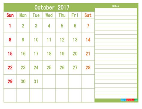 october printable calendar templates month page