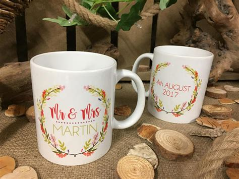 personalised wedding mugs  hopwood laser design