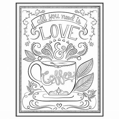 Coloring Coffee Adult Pages Uae Frame 10x13