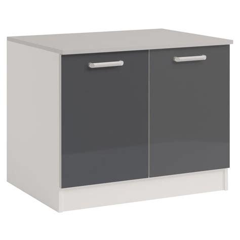 meuble bas 120 cm cuisine meuble bas 2 portes 120 cm quot shiny quot gris