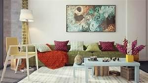 decoration de salon idees avec coussinstableaux et rideaux With tapis champ de fleurs avec modeles de canapes salon