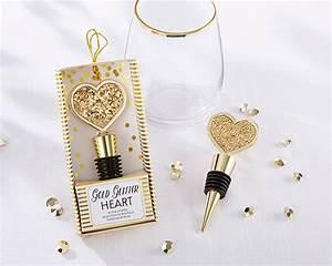 gold glitter heart bottle stopper my wedding favors With wine stopper wedding favors