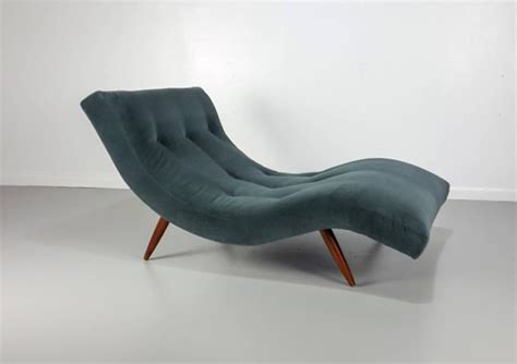 undulating quot wave quot chaise longue chairs in mohair by adrian