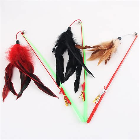 Pcs Plastic Fishing Rod Type Bird Feather Teaser Wand Pet
