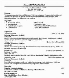 Child Care Resume Objective Industrial Maintenance Mechanic Resume Sample Livecareer