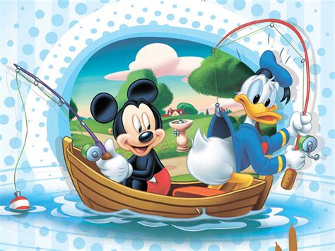 mickey mouse  donald duck fishing  boat disney