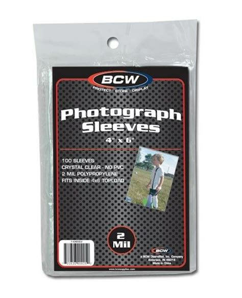 pack of 100 bcw 4x6 photo 2 mil soft poly sleeves