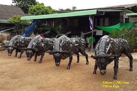 Metal Bull Statues, Lifesize Bull Sculptures, Scrap Metal