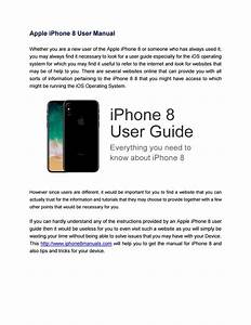 Apple Iphone 8 User Manual By Annette Fagan