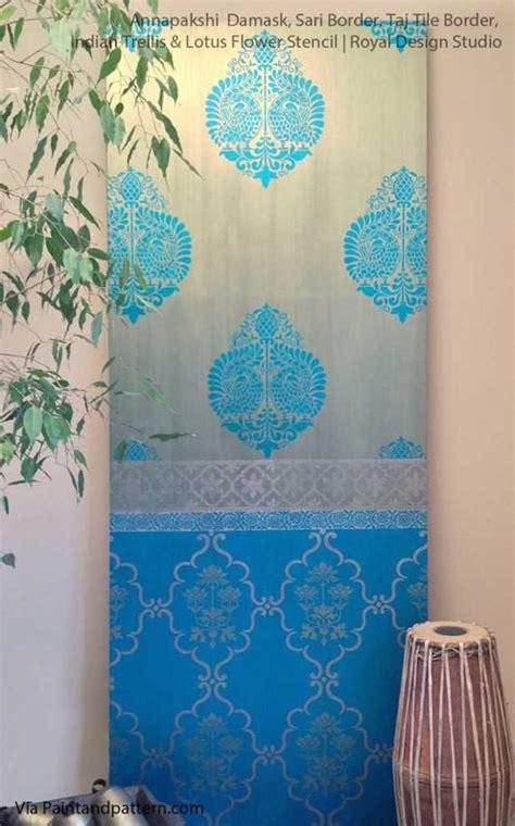 royal design studio indian annapakshi damask wall stencil royal design studio