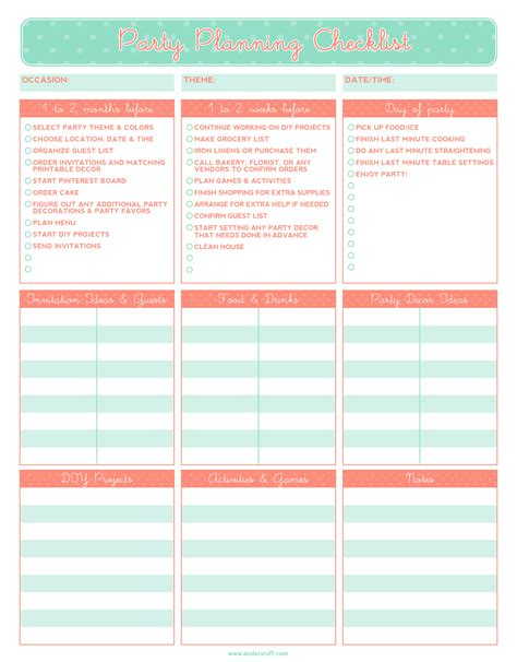 party planning templates excel xlts