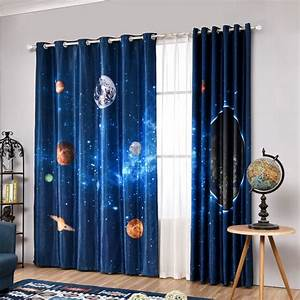 Navy Blue Star Outer Space Themed Room Curtains For Teen Boys