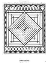 Coloring Quilt Books Pages Patchwork Traditional Dover Pattern Designs Geometric Adult Quilting sketch template