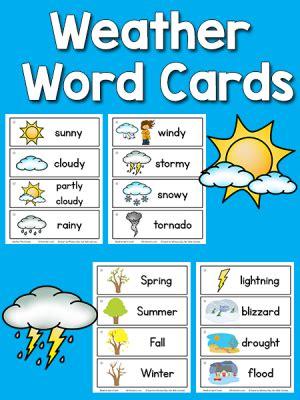 pre k science printables prekinders 608 | weather2 word cards 300x400