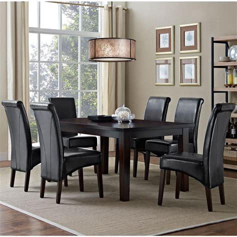 Black Dining Room Sets by Simpli Home Avalon 7 Midnight Black Dining Set