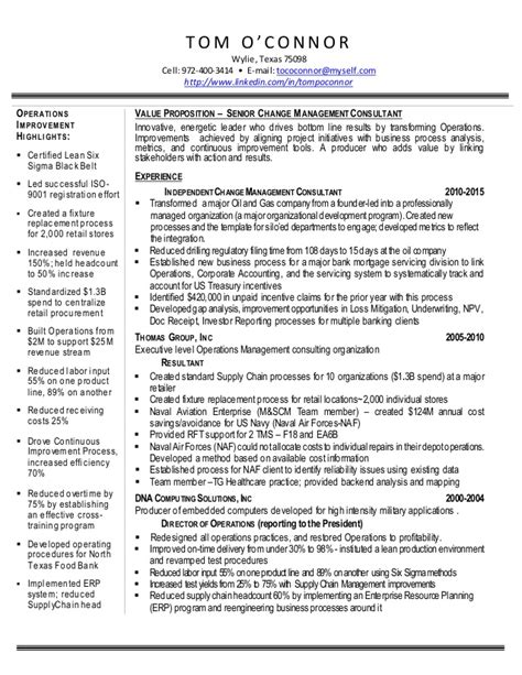 Change Manager Resume Format by Resume O Connor Tom Senior Change Management Consultant