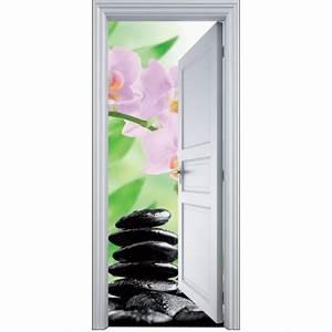 Deco Porte Interieure En Trompe L Oeil : sticker porte trompe l 39 oeil galet orchid e 90x200cm art d co stickers ~ Carolinahurricanesstore.com Idées de Décoration