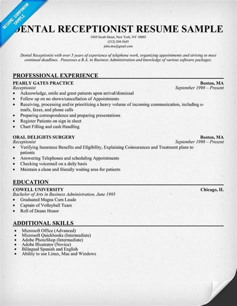 Resume For Receptionist by Dental Receptionist Resume Exle Dentist Health