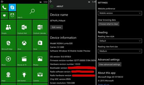 windows 10 mobile screenshots leaked